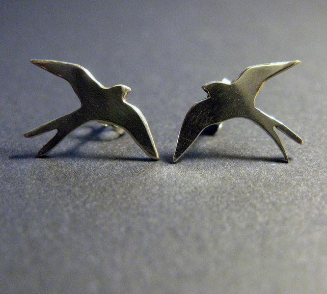 Handmade Silver Swallow Ear Studs £30.00