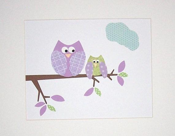 Owl Nursery Art Baby Girl Room Decor Kids Wall Art  by vtdesigns, $14.00