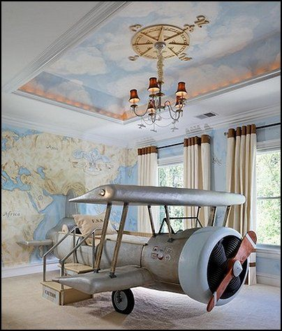 Decorating theme bedrooms - Maries Manor: airplane theme bedroom- Aviation themed bedroom ideas -OK a little over the top...just a little lol but that bed is COOL!!! and the wall and ceiling is very do-able