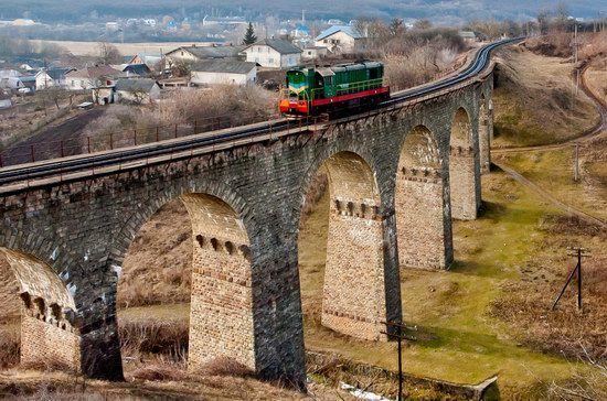 Nine-arch railroad bridge in Plebanovka village, Ternopil region, Ukraine