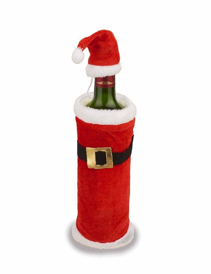 Abrigo y gorro de Papá Noel para botella: Este cubre botellas incluye un abrigo y un pequeño sombrero.El abrigo es rojo tipo terciopelo y lleva un cuello blanco. El cinturón es negro y dorado y está cosido al abrigo.El...