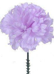 "CASE OF 100 Pastel Lavender Carnation Bulk Silk Flower Picks<br>3.5"" Bloom x 5"" Tall"