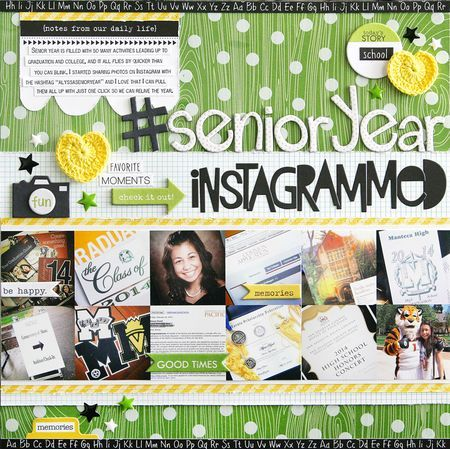 Bella Blvd Clear Cuts specialty papers, Campout collection, Color Chaos collection, Crochet Hearts. Senior Year Instagrammed layout by DT member Laura Vegas.