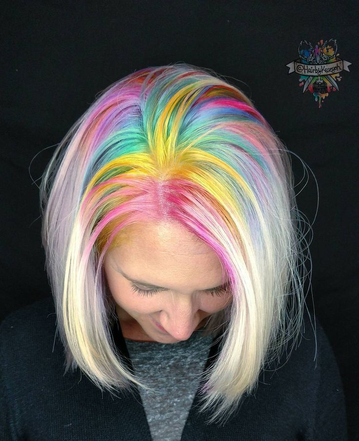 Front view of my unicorn roots as requested #pulpriothair #brazilianbondbuilder #inspiredbyb3 #behindthechair #americansalon #beautylaunchpad #modernsalon #rainbowhair