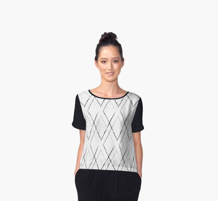 Geometric monochrome diamond pattern by LunaPrincino #lunaprincino #redbubble #print #prints #art #design #designer #graphic #clothes #for #women #apparel #shopping #tshirt #tees #chiffon #top #office #fashion #style #pattern #geometric #geometry #ornament #lines #diamond #rhombus #grunge #black #and #white #monochrome #ink