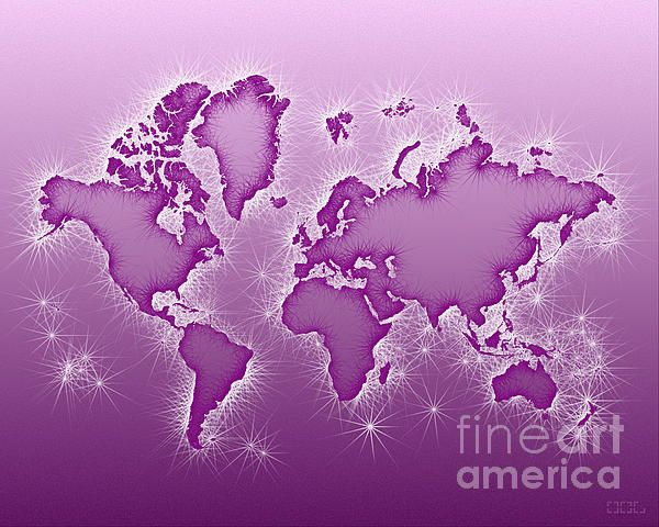 World Map Opala In Purple And White by elevencorners. World map wall print decor. #elevencorners #mapopala