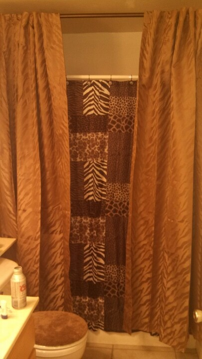 Simple zebra and leopard print shower from walmart curtain with an added  curtain with a lighter. 83 best LEOPARD BATH images on Pinterest   Leopards  Animal prints
