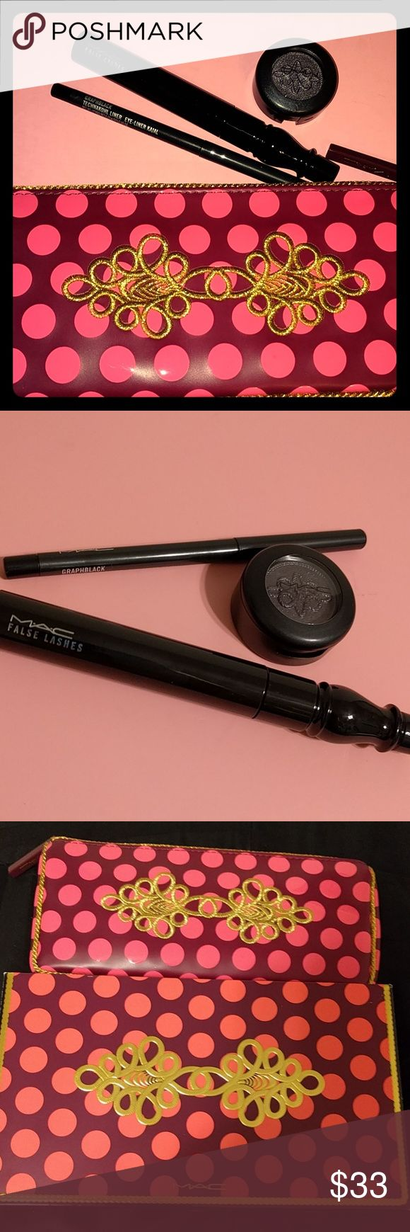 NIB MAC Nutcracker Suite Smokey Eye Bag Brand new, authentic set from Mac. From this past holiday season so products are fresh. Currently selling on eBay for $60.  NOTE - this is discounted so highly because the paint pot is missing, but it includes: False Lashes Mascara Technakohl Liner in Graphblack Eyeshadow in Fathoms Deep Limited Edition Nutcracker Makeup Bag  None of the products have been opened, value of products before bag is $56! Amazing deal  Bundle with my other listings for…