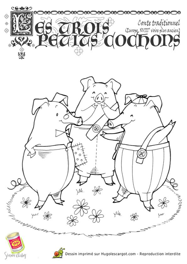 Les trois petits cochons dessins garderie pinterest - Coloriage les trois petit cochons ...