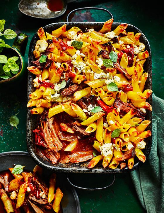 Higgledy-piggledy Greek beef pasta bake