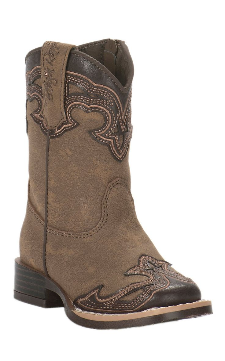 M&F Toddler Tan with Brown Accent Square Toe Boots   Cavender's