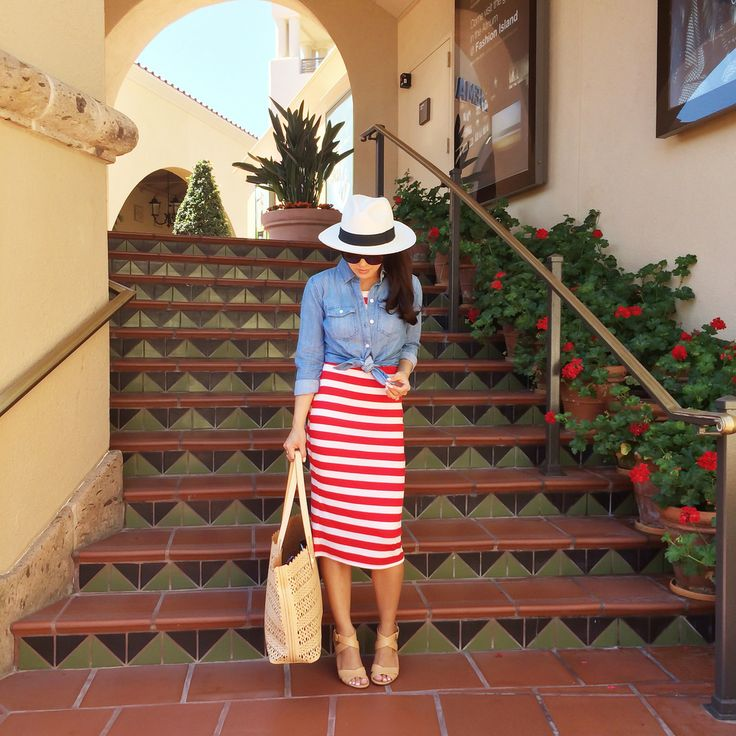 Patriotic Outfit and Recent Finds.  Nautical Red and White striped midi dress - button up Chambray shirt - Panama hat - Tenni Sandal - Chanel sunglasses - blush perf Avalon Tote.  Click on the following link to see all of the photos and outfit details: http://www.stylishpetite.com/2014/07/patriotic-outfit-and-recent-finds.html