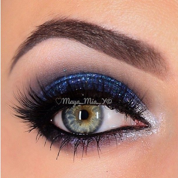 """Captivated by this stunning ✨Sparkly Blue and Silver smokey eye ✨by @Maya_Mia_y with our """"Kamilla"""" mink lashes from Xtreme Collection Visit us at www.FlutterLashes.com"""
