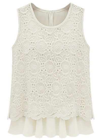Beige Sleeveless Back Split Lace Chiffon Blouse - Sheinside.com Mobile Site