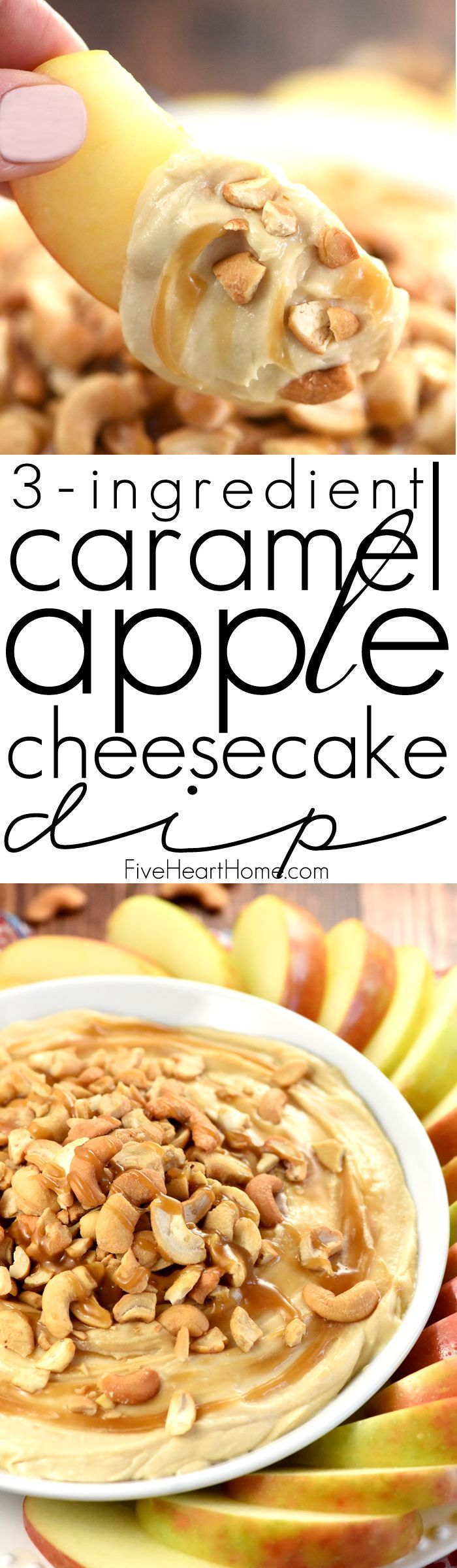 Caramel Apple Cheesecake Dip ~ requiring only three ingredients and a few minutes to assemble, this sweet and creamy dip is an effortless recipe for game day, Halloween parties, Thanksgiving dessert, or just about any special occasion or get-together!   FiveHeartHome.com