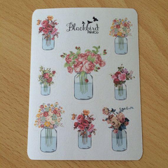 Flower Arrangement Mason Jar Planner Stickers by BlackbirdPrintCo