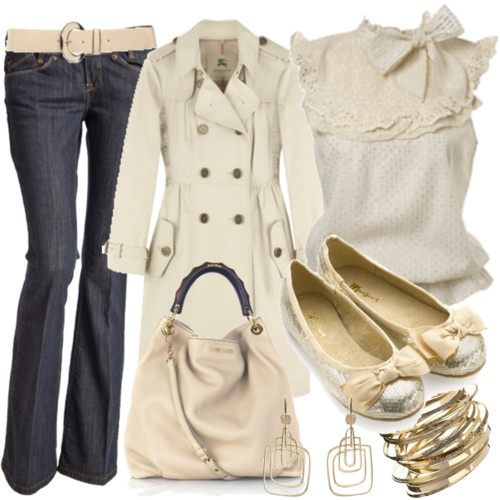 Pretty outfit: Fashion Style, White Shirts Fashion, Winter White, Cute Outfits, Gold Accent, Girly Girls, Trench Coats, Gold Accessories, Winter Coats