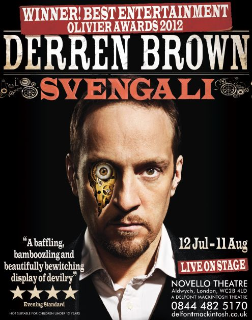 Derren Brown 2012 Tour Poster after his Olivier Award win.