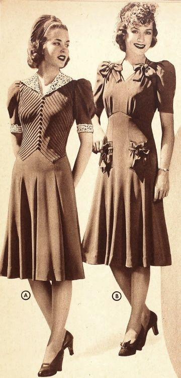 Two wonderfully pretty daywear dresses from the Sears catalog, 1940. #vintage #1940s #fashion