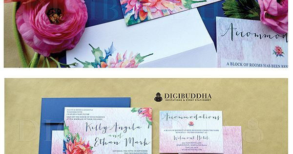 Gorgeous boho chic watercolor floral wedding invitations in a 3 piece suite including RSVP reply card and Accommodations/Info card. Soft pastel ombre backers paired with bold beautiful rainbow colored florals. Color envelopes envelope liners and belly bands also available. digibuddha.com