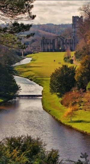 Fountains Abbey, Yorkshire, England by cathleen