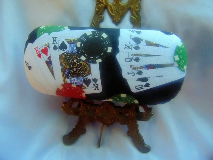 "Adult unisex handmade hard eyeglass case,""Top Poker Hands""/vision accessory/bag or purse item/health & beauty/adult vision gift/eye wear art by JuLLuJ on Etsy"