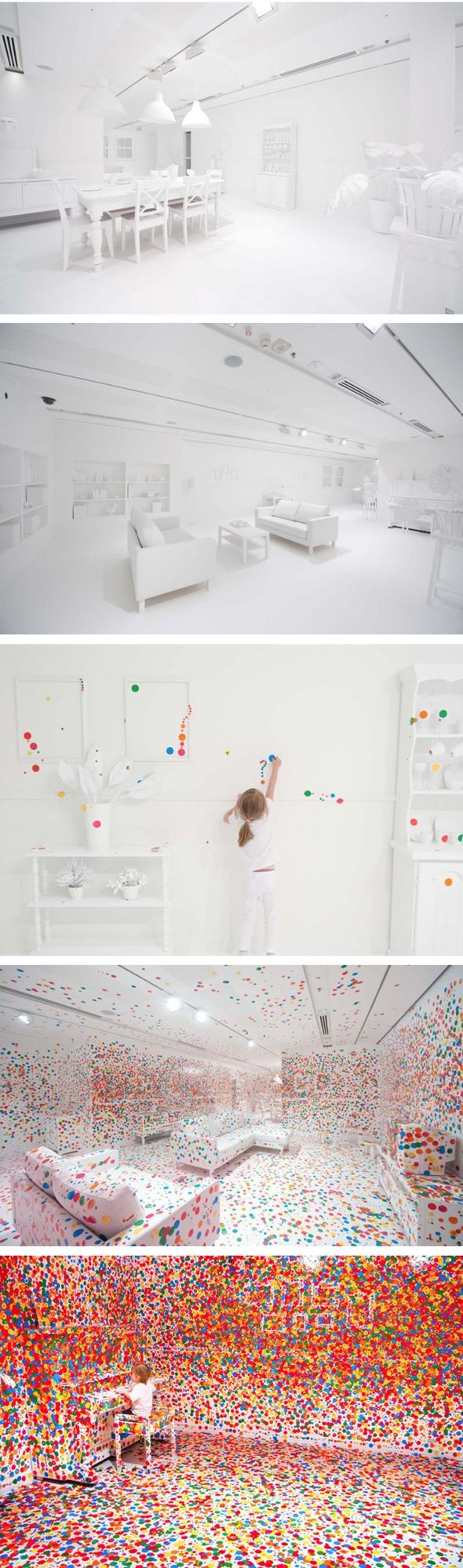 What happens when you give thousands of kids thousands of colored dots in an all white room? The Obliteration Room-Interactive Art Exhibit: