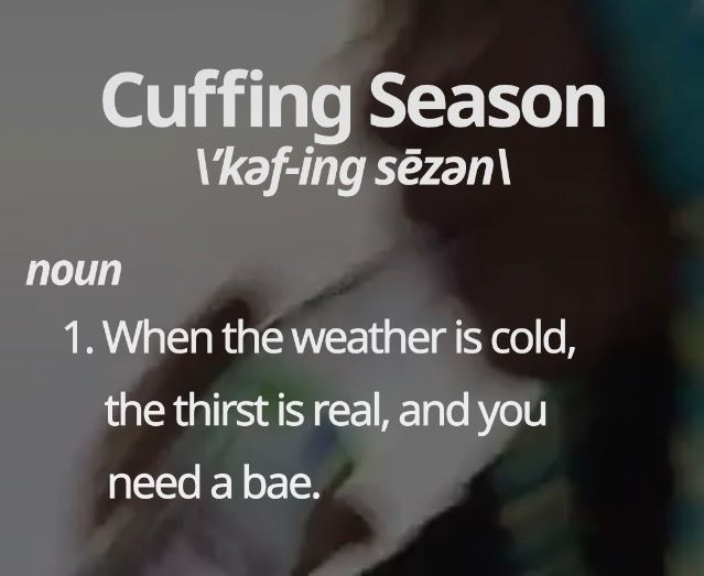 Cuffing Season: when the weather is cold, the thirst is real, and you need a bae