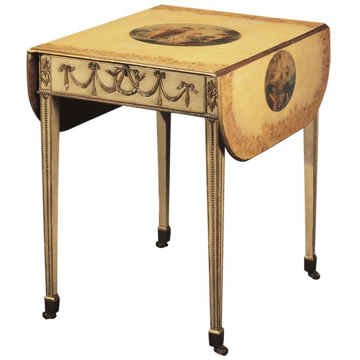 George III Cream Painted And Gilt Pembroke Table