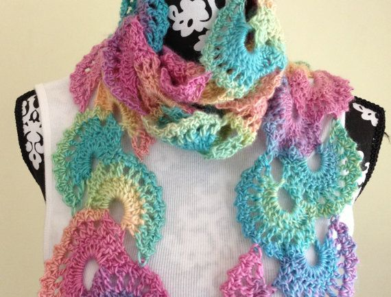 Crocheted Scarf Multicolor by NancyBags4U on Etsy, $29.00
