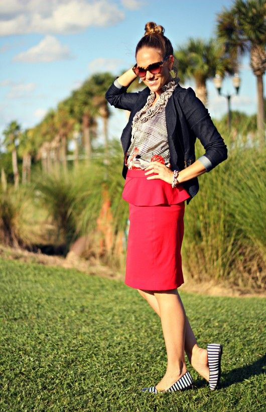 Peplum skirt outfit idea #2. Wear a peplum skirt with ruffled undershirt,  rolled-sleeve blazer, and matching patterned flats.