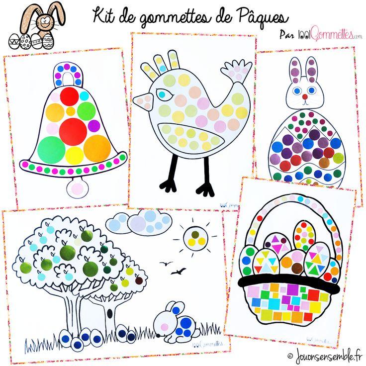 """Kit de gommettes """"Pâques"""" par 1001gommettes.com   Jouonsensemble.fr"""