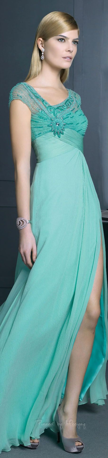 Rosa Clará ~ Spring Cap Sleeve Gown, Agua 2015 - Imagine this gown in a jewel tone as well. Stunning