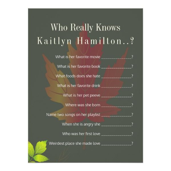 Falling Leaves Autumn Oak Wedding Shower Quiz Game Card