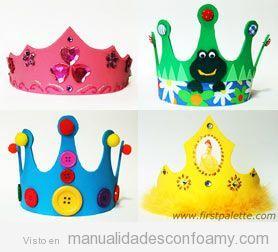 Manualidades de foamy, corona cumpleaños niños