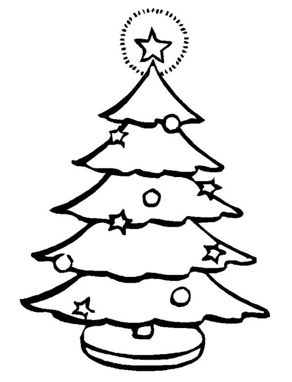Christmas Lovely Christmas Tree With The Blinking Star At The Top Coloring Page Coloring Pages Christmas Coloring Pages Coloring Pages For Kids