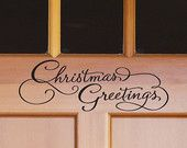 Wall Decal - porte Decal - Christmas Greetings vinyle autocollant d'Art décoration murale - WD0317