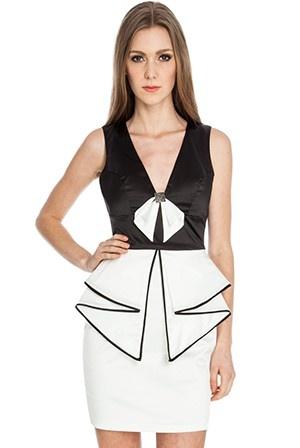 ruffle black & white dress