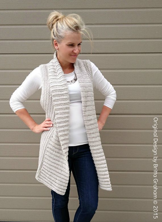 Vest Crochet Pattern Long Style with Shawl Collar No.935