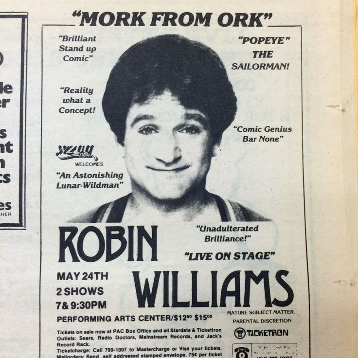 We're going through the 1982 student newspapers today and discovered this gem. Robin Williams looks so young!