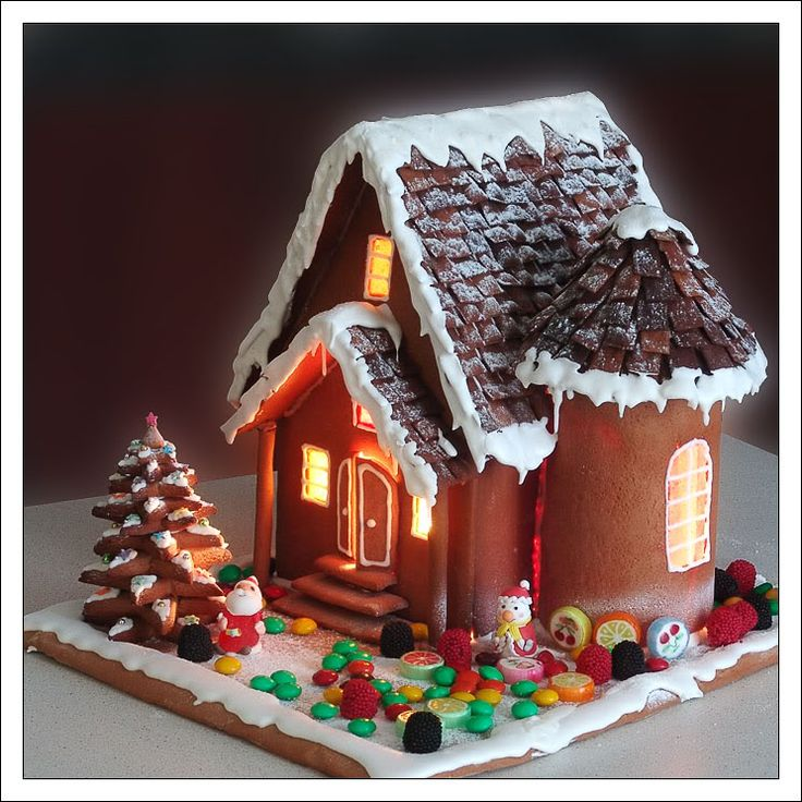 Gingerbread house with a round tower