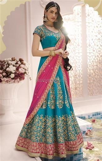 Lovely Sky Blue Heavy Work Silk Bridal Lahenga Choli