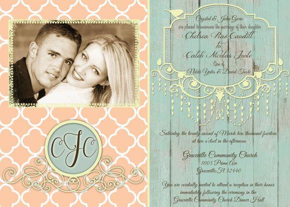 Shabby Chic Wedding Invitation in Peach by MissBlissInvitations