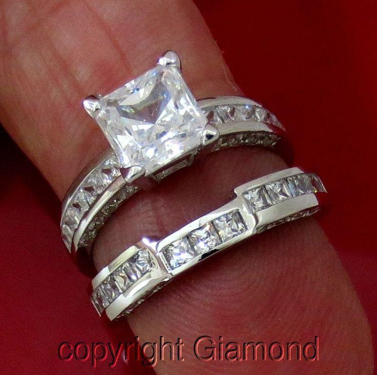 Princess cut Simulated Diamond Engagement ring wedding band 14K solid White…