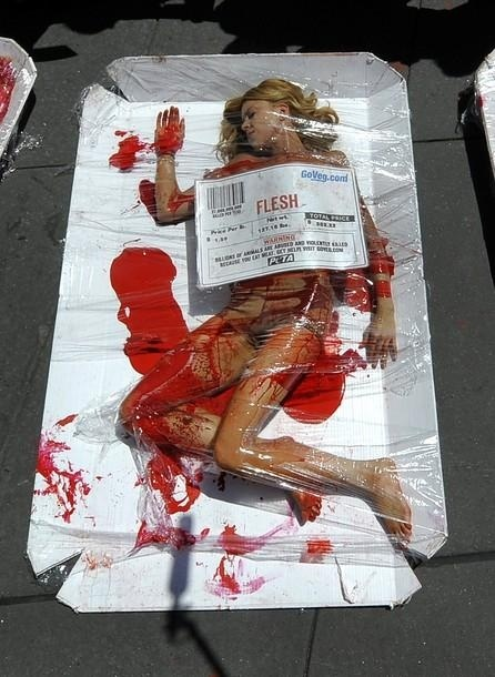 The image is from peta and shows a human being packed as meat. A form of shock advertisement to bring awareness to the treatment of animals.http://www.huffingtonpost.com/2010/07/28/peta-protests-with-human_n_662087.html