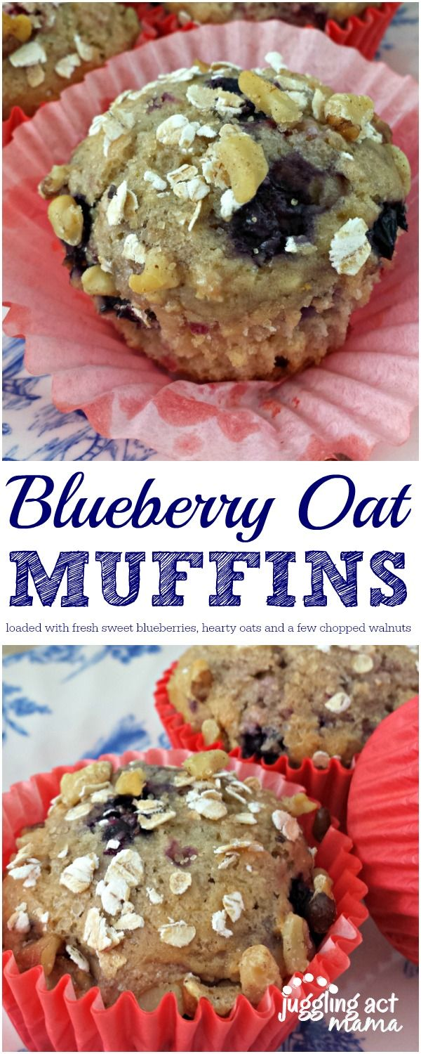 Blueberry Oat Muffins loaded with sweet fresh berries, hearty oats and a sprinkle of toasted chopped walnuts