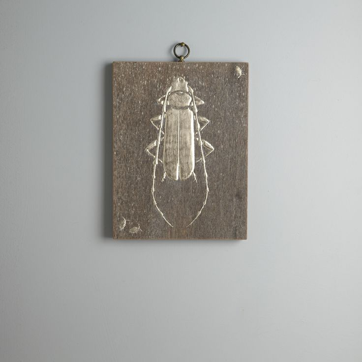 Beetle II. 25 x 19.5 cm. A raised gesso beetle gilded with 22 carat rose gold leaf on a raw wood background.