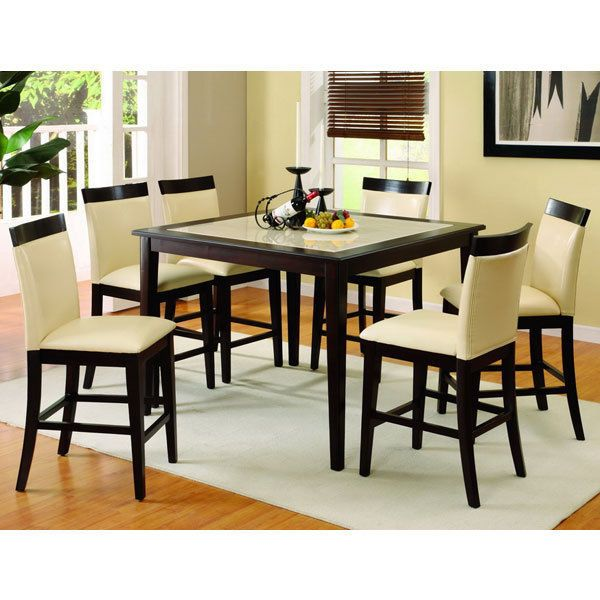 solid wood evious espresso finish counter height dining table set