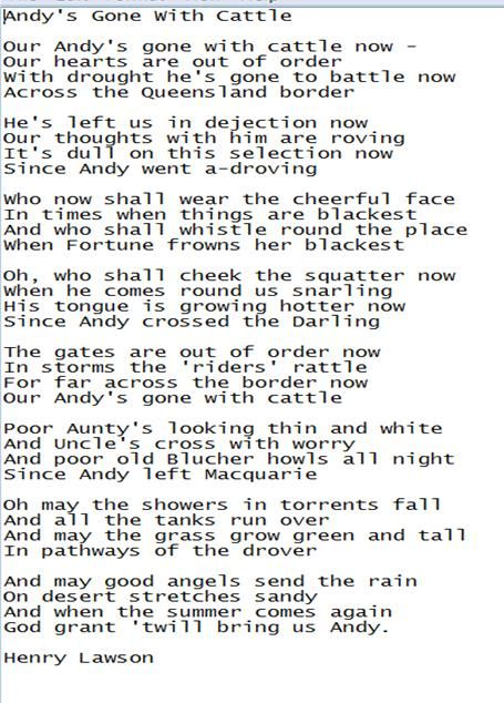 Andy's gone with cattle by Henry Lawson. At school, we would sing this poem