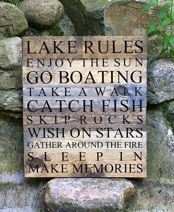 Lake Rules Lake Sign Lake Sign Rules Cabin Sign Cabin